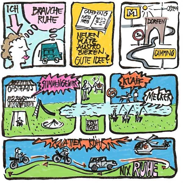 Zeichnung Campingplatzleben
