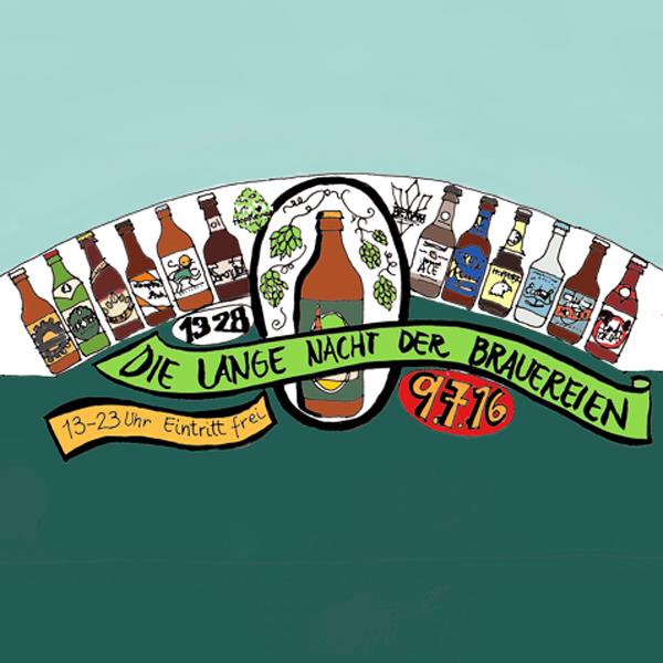 Zeichnung Banner mit Bierflaschen-Giesinger Brauerei
