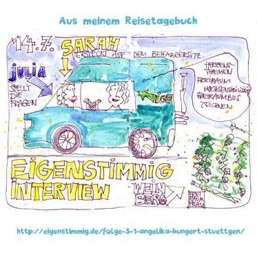 Zeichnung Freiraumbus im Weinberg