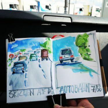 Skizzen auf der Autobahn