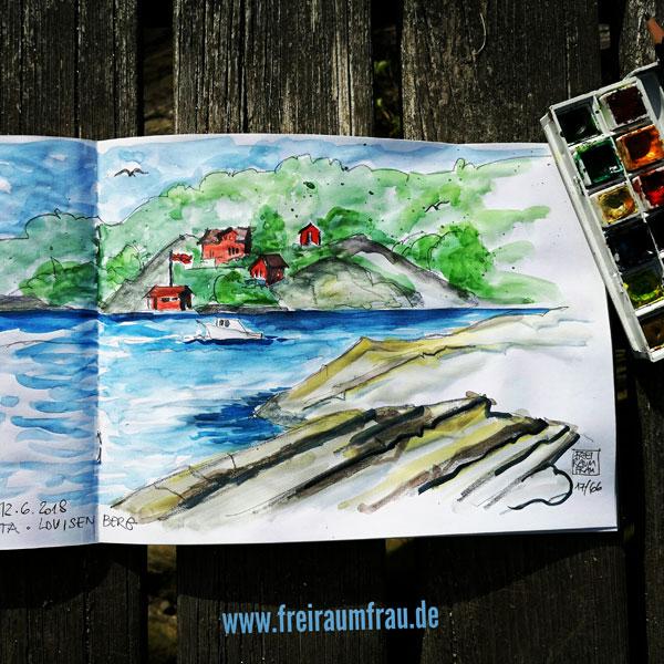 Aquarell mit roten Häusern