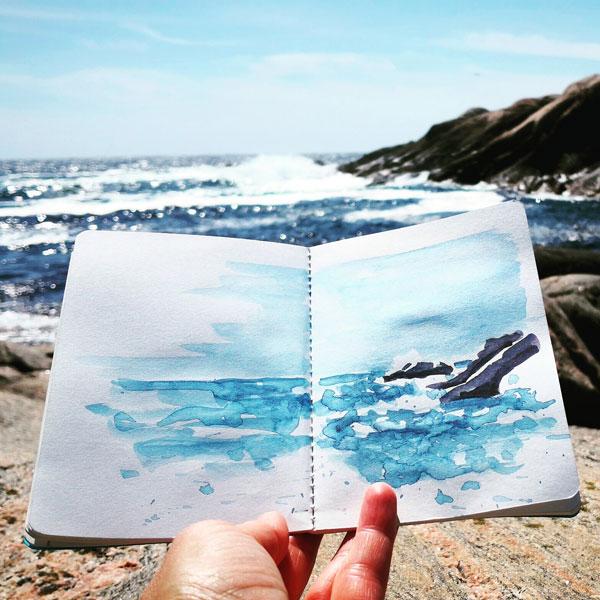 Aquarell Gischt und Wellen