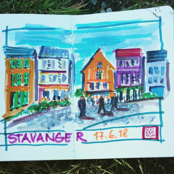 Zeichnung bunte Häuser in Stavanger