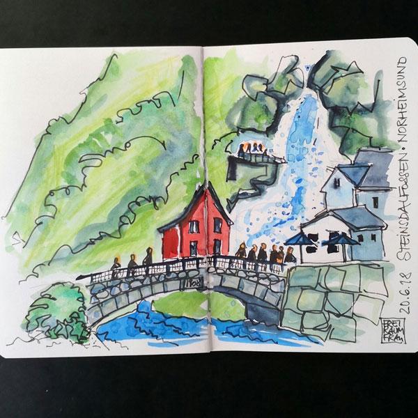 Aquarell Haus am Wasserfall