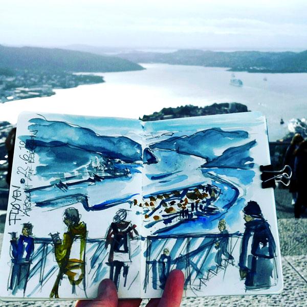 Aquarell Bergen Ausblick Floyen