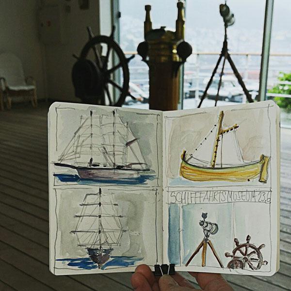 Schiffe im Schifffahrtsmuseum Bergen