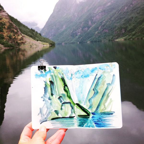 Aquarell Wikingerfjord