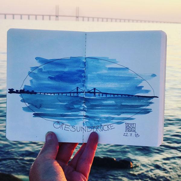 Aquarell Öresundbrücke