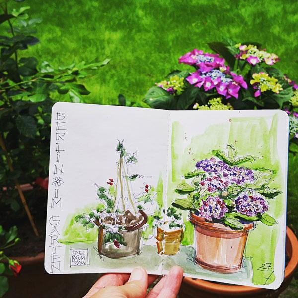 Blumenkübel im Garten