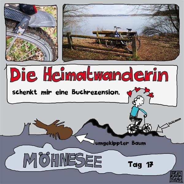 Zeichnung Moehnesee-Radfahren-Rezension-Freiraumfrau