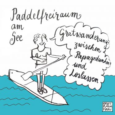 Zeichnung-paddelnde Freiraumfrau